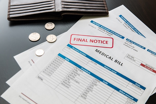 Final notice document for unpaid medical bills for a personal injury