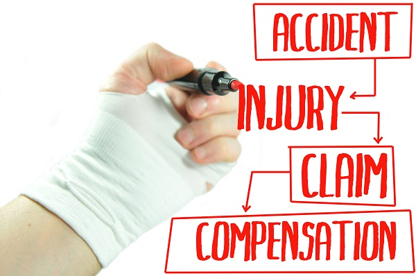 Illustration showing a person with a broken hand wearing a cast and writing in red marker about auto accident compensation